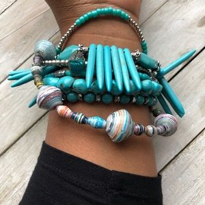 Jewelry - Boho Turquoise and Silver Bracelet